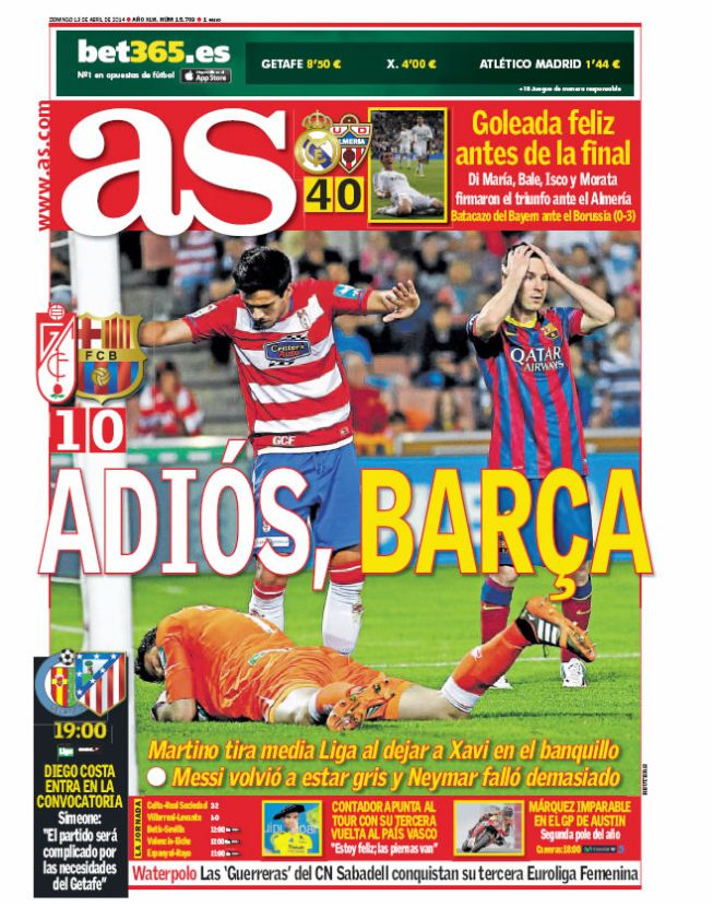 Adios Barca! Spanish press hail the end of an era for the Catalans & Tata Martino after Granada loss [Pictures]