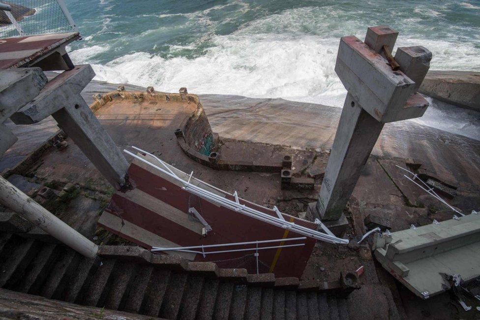 Las impactantes imágenes del derrumbe en el carril bici de Río